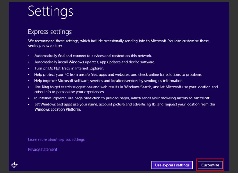 Windows 10 Upgrade: Custom Settings